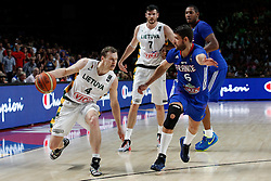 13.09.2014, City Arena, Madrid, ESP, FIBA WM, Frankreich und Litauen, Entscheidungsspiel zwischen Platz 3 und 4, im Bild France´s Diot (R) and Lithuania´s Pocius and Lavrinovic // during FIBA Basketball World Cup Spain 2014 playoff match place 3 and 4 between France and Lithuania at the City Arena in Madrid, Spain on 2014/09/13. EXPA Pictures © 2014, PhotoCredit: EXPA/ Alterphotos/ Victor Blanco<br /> <br /> *****ATTENTION - OUT of ESP, SUI*****