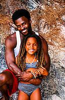 Bermudian father and 11 year old daughter, Horseshoe Bay, Bermuda