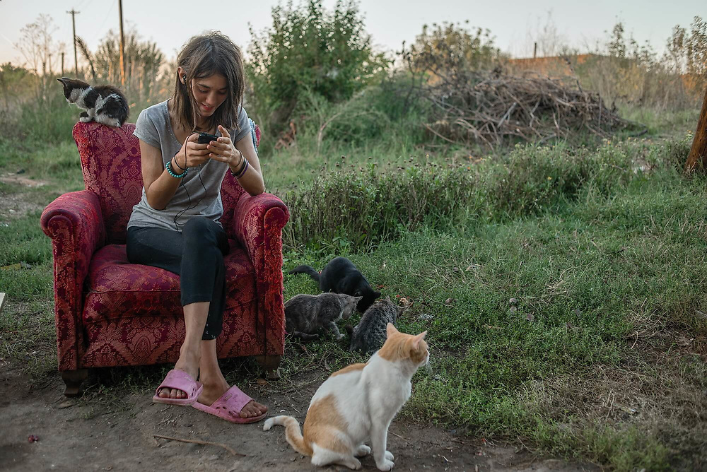 Alina, surrounded by cats, speaks with her friends while surfing the internet. Her poor family lives in a room housing electrical power equipment for the railway.