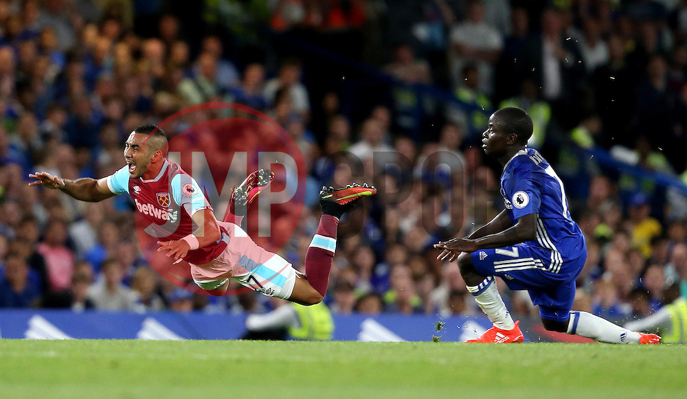 Dimitri Payet of West Ham United is fouled by Ngolo Kante of Chelsea - Mandatory by-line: Robbie Stephenson/JMP - 15/08/2016 - FOOTBALL - Stamford Bridge - London, England - Chelsea v West Ham United - Premier League