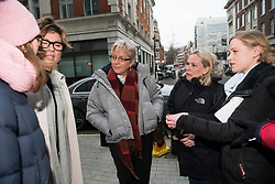 © Licensed to London News Pictures. 08/01/2018. London, UK. Former China editor for the BBC, CARRIE GRACIE (centre)  seen talking to other presenters and producers as she leaves BBC broadcasting House in London. CARRIE GRACIE resigned form her post as China editor and wrote an open letter to licence fee payers   in protest over unequal pay between men and women at the broadcasting corporation. Photo credit: Ben Cawthra/LNP