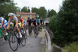 Lisa Brennauer (GER) and triwor of CANYON//SRAM Racing ride mid-pack  in the penultimate short lap of the Crescent Vargarda - a 152 km road race, starting and finishing in Vargarda on August 13, 2017, in Vastra Gotaland, Sweden. (Photo by Balint Hamvas/Velofocus.com)