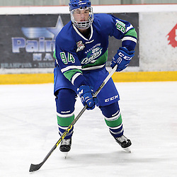 BURLINGTON, ON - SEP 9:  Michael Boushy #94 of the Burlington Cougars follows the play in the first period during the OJHL regular season game between the Orangeville Flyers and the Burlington Cougars. Orangeville Flyers and Burlington Cougars  on September 9, 2016 in Burlington, Ontario. (Photo by Tim Bates / OJHL Images)