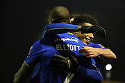 AFC Wimbledon striker Tom Elliott (9) celebrating scoring 1-0 during the The FA Cup third round replay match between AFC Wimbledon and Sutton United at the Cherry Red Records Stadium, Kingston, England on 17 January 2017. Photo by Matthew Redman.