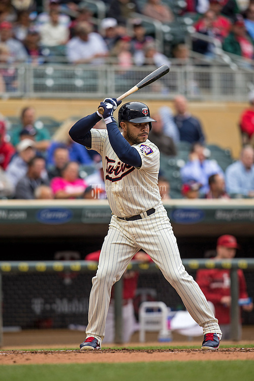 MINNEAPOLIS, MN- SEPTEMBER 24: Josmil Pinto #43 of the Minnesota Twins bats against the Arizona Diamondbacks on September 24, 2014 at Target Field in Minneapolis, Minnesota. The Twins defeated the Diamondbacks 2-1. (Photo by Brace Hemmelgarn) *** Local Caption *** Josmil Pinto