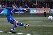 Braintree Town goalkeeper George Legg (36) in action during the Vanarama National League match between FC Halifax Town and Dover Athletic at the Shay, Halifax, United Kingdom on 17 November 2018.