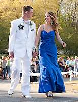 John Woodbury and Megan Masse enjoy their moment as they march in Laconia High School's Junior Prom Friday evening at Steele Hill Resort.   (Karen Bobotas/for the Laconia Daily Sun)Laconia High School Junior Prom grand march at Steele Hill Resort Sanbornton May 13, 2011.