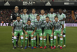 February 28, 2019 - Valencia, Spain - Betis Team before Spanish King La Copa match between  Valencia cf vs Real Betis Balompie Second leg  at Mestalla Stadium on February 28, 2019. (Photo by Jose Miguel Fernandez/NurPhoto) (Credit Image: © Jose Miguel Fernandez/NurPhoto via ZUMA Press)