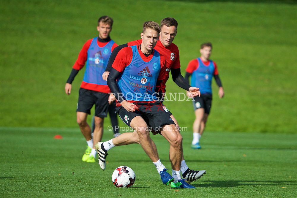 CARDIFF, WALES - Wednesday, October 5, 2016: Wales' David Edwards and Andy King during a training session at the Vale Resort ahead of the 2018 FIFA World Cup Qualifying Group D match against Austria. (Pic by David Rawcliffe/Propaganda)