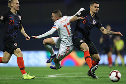ZAGREB, Nov. 15, 2018  Iago Aspas (C) of Spain and Domagoj Vida (L) and Dejan Lovren (R) of Croatia during the UEFA Nations League A group 4 match between Croatia and Spain at Maksimir stadium in Zagreb, Croatia, on November 15. Croatia won 3:2. (Credit Image: © Igor Kralj/Pixsell/Xinhua via ZUMA Wire)