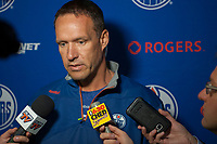 PENTICTON, CANADA - SEPTEMBER 9: Edmonton Oilers' head coach Gerry Fleming speaks to media after morning skate on September 9, 2017 at the South Okanagan Event Centre in Penticton, British Columbia, Canada.  (Photo by Marissa Baecker/Shoot the Breeze)  *** Local Caption ***