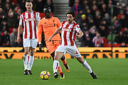 Stoke City midfielder Joe Allen (4) plays the ball away from Liverpool midfielder Sadio Mane (19) 0-1 during the Premier League match between Stoke City and Liverpool at the Bet365 Stadium, Stoke-on-Trent, England on 29 November 2017. Photo by Alan Franklin.