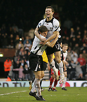 Photo: Lee Earle.<br /> Fulham v Stoke City. The FA Cup. 27/01/2007.Fulham's Moritz Volz (L) congratulates Tomasz Radzinski after he scored their third.