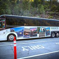 A tour bus is seen inside Yosemite National Park on Sunday, September 22, 2019 in Yosemite, California. (Alex Menendez via AP)