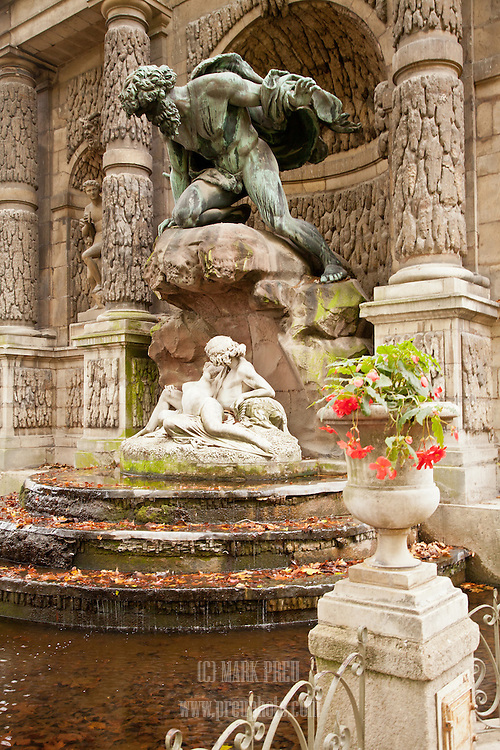 Autumn leaves fill the water of the Medici Fountain, next to the Luxembourg Palace in Paris.