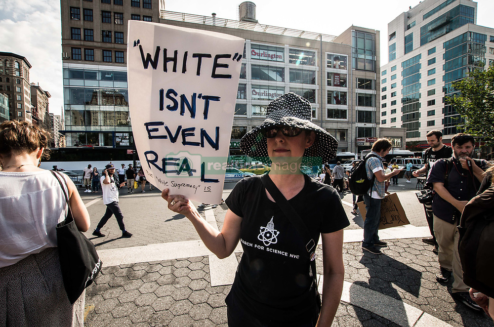 August 27, 2017 - New York City, New York, United States of America - Over 80 demonstrated at NYC's Union Square against the rise of fascism and white supremacy in the United States.  Furthermore, the action was a show of solidarity with Berkeley, California, where the far- and radical-right organized a demonstration, which was met with counter-demonstrations.  In the course of the demonstration, the platform turn towards the Israel-Palestine issue and anti-Zionism. (Credit Image: © Sachelle Babbar via ZUMA Wire)