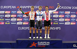 (from left) Silver Medal winner Portugal's Ivo Oliveira, Gold Medal winner Germany's Domenic Weinstein and Bronze Medal winner Switzerland's Claudio Imhof on the podium for the Mens 4000m Individual Pursuit during day four of the 2018 European Championships at the Sir Chris Hoy Velodrome, Glasgow.