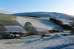 © Licensed to London News Pictures. 28/01/2020. Llanfihangel-nant-Melan, Powys, Wales, UK. A wintry landscape this morning near small Welsh village of Llanfihangel-nant-Melan in Powys, Wales, UK. Photo credit: Graham M. Lawrence/LNP