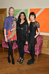 Left to right, JADE PARFITT, director of The Chase JAM PATEL and model DOUG (Sarah Douglas) who appears in The Chase at a screening of the short film The Chase hosted by Jade Parfitt at The Soho Hotel, 4 Richmond Mews, Soho, London on 22nd February 2015.