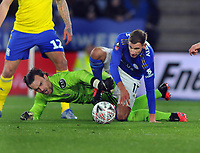 Football - 1919 - 2020 FA Cup R5: Leicester-Birmingham<br /> <br /> Birmingham goalkeeper,Lee Camp tussles for the loose ball with Marc Albrighton, at The King Power stadium<br /> <br /> COLORSPORT/ANDREW COWIE
