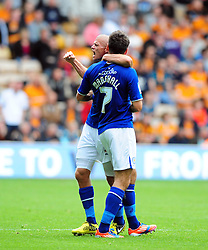 Leicester City's Paul Konchesky celebrates with Leicester City's Ben Marshall - Photo mandatory by-line: Joe Meredith/Josephmeredith.com  - Tel: Mobile:07966 386802 16/09/2012 - Wolves v Leicester City - SPORT - FOOTBALL - Championship -  Wolverhampton  -  Molineux Stadium  -
