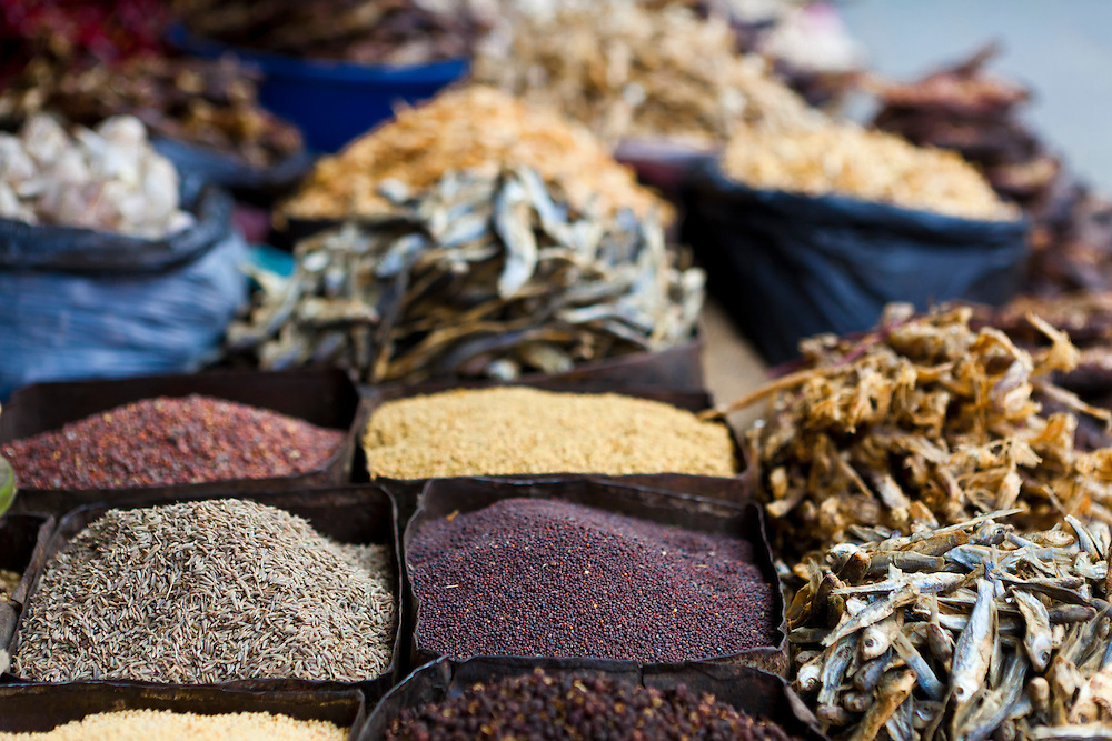 Spices in a Nepali market.