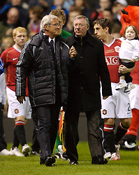 Manchester, England - Tuesday, March 13, 2007: Manchester United's manager Alex Ferguson and Europe XI's coach Marcello Lippi during the UEFA Celebration Match at Old Trafford. (Pic by David Rawcliffe/Propaganda)
