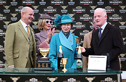 Trainer Willie Peter Mullins (right) with The Princess Royal during the presentation after the Magners Cheltenham Gold Cup Chase during Gold Cup Day of the 2019 Cheltenham Festival at Cheltenham Racecourse.