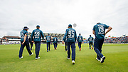 Picture by Allan McKenzie/SWpix.com - 19/05/2019 - Sport - Cricket - 5th Royal London One Day International - England v Pakistan - Emerald Headingley Cricket Ground, Leeds, England - England come onto the field of play against Pakistan.
