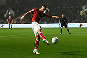 Bailey Wright (5) of Bristol City shoots at goal during the EFL Sky Bet Championship match between Bristol City and Bolton Wanderers at Ashton Gate, Bristol, England on 26 September 2017. Photo by Graham Hunt.