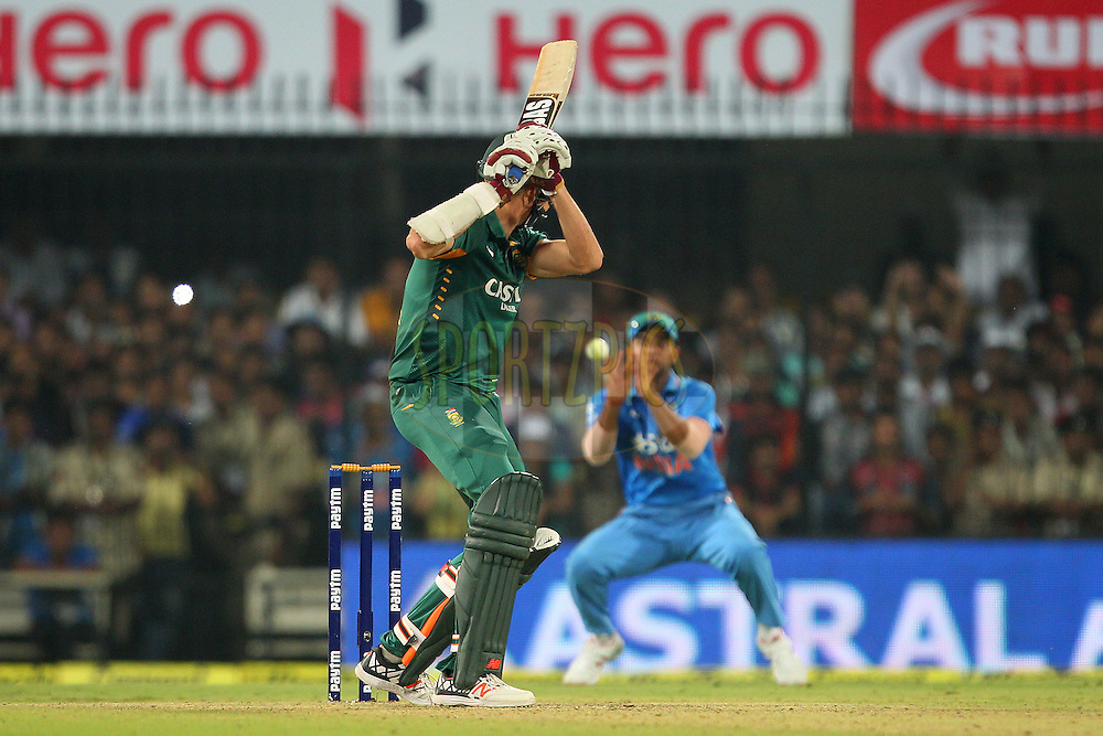 Morne Morkel of South Africa looks on as the ball reaches Suresh Raina of India  and India win the match during the 2nd Paytm Freedom Trophy Series One Day International ( ODI ) match between India and South Africa held at the Holkar Stadium in Indore, India on the 14th October 2015<br /> <br /> Photo by Ron Gaunt/ BCCI/ Sportzpics