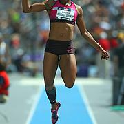DELOACH-SOUKUP -13USA, Des Moines, Ia. - Janay DeLoach Soukup won the long jump.  Photo by David Peterson