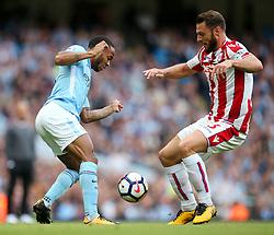 Raheem Sterling of Manchester City takes on Erik Pieters of Stoke City - Mandatory by-line: Matt McNulty/JMP - 14/10/2017 - FOOTBALL - Etihad Stadium - Manchester, England - Manchester City v Stoke City - Premier League