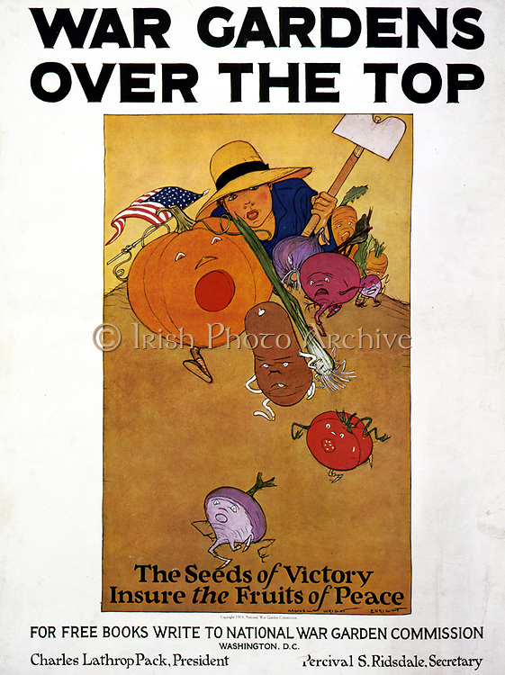 World War I poster. War gardens over the top. The seeds of victory insure the fruits of peace / Maginel Wright Enright. 1877-1966, artist. Poster shows boy with hoe chasing fleeing vegetables to illustrate the success of growing food in local 'victory gardens.' Part of the National War Garden Commission's campaign to encourage Americans to raise more food and free resources for the United States military needs in World War I