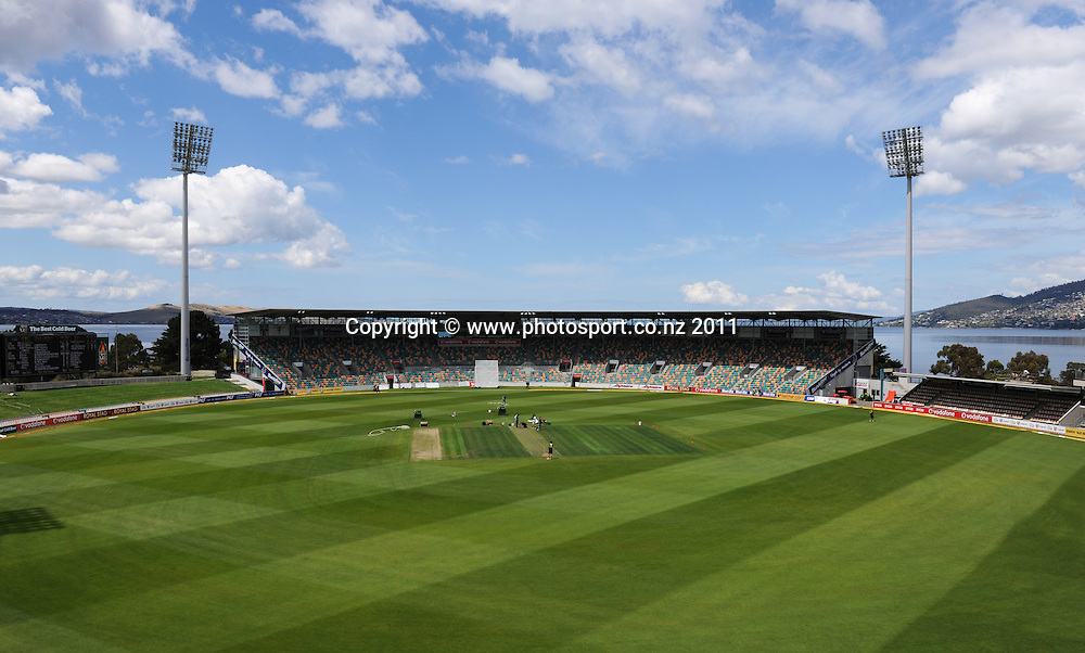 Bellerive Oval ahead of the second cricket test match versus Australia in Hobart. Thursday 8 December 2011. Photo: Andrew Cornaga/Photosport.co.nz