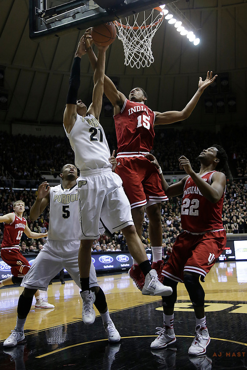 15 February 2014: Indiana Forward Devin Davis (15) as the Indiana Hoosiers played the Purdue Boilermakers in a college basketball game in West Lafayette, Ind.