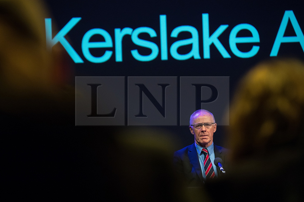 © Licensed to London News Pictures. 27/03/2018. Salford, UK. SIR RICHARD LEESE . The Kerslake Report in to the terrorist bombing of an Ariana Grande concert at the Manchester Arena on 22nd May 2017 , ordered by Greater Manchester Metro Mayor Andy Burnham , is published at a press conference at the University of Salford , at Media City . Amongst praise for many connected with the events, the report also highlights failings in communication at Greater Manchester Fire and Rescue on the night and disreputable behaviour by some sections of the media in the aftermath of the attack . Photo credit: Joel Goodman/LNP