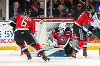 KELOWNA, BC - SEPTEMBER 28: Roman Basran #30 of the Kelowna Rockets defends the net against the Everett Silvertips at Prospera Place on September 28, 2019 in Kelowna, Canada. (Photo by Marissa Baecker/Shoot the Breeze)