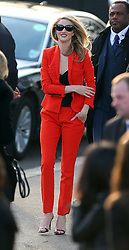Rosie Huntington-Whiteley arriving at the Burberry Prorsum show during London Fashion Week Fall/Winter 2013/14 in London, UK. 18/02/2013<br />BYLINE MUST READ : GOTCHAIMAGES.COM<br /><br />Copyright by © Gotcha Images Ltd. All rights reserved.<br />Usage of this image is conditional upon the acceptance <br />of Gotcha Images Ltd, terms and conditions available at<br />www.gotchaimages.com