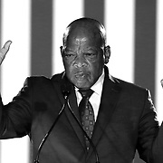 (Image converted to Black and White) Rep. John Lewis, of Georgia, campaigns for Democratic Presidential nominee Hillary Clinton on Friday, February 12,  2016 at the Sanford Civic Center in Sanford, Florida (Alex Menendez via AP)