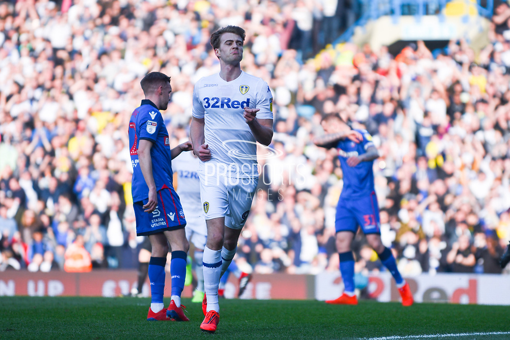 Patrick Bamford of Leeds United (9) scores a goal from a penalty and celebrates to make the score 1-0 during the EFL Sky Bet Championship match between Leeds United and Bolton Wanderers at Elland Road, Leeds, England on 23 February 2019.
