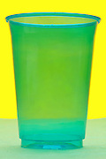 blue transparent plastic cup still life