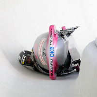 28 February 2007:    The Germany 1 bobsled driven by Karl Angerer with sidepushers Andreas Udvari and Alex Mann, and brakeman Gregor Bermbach overturns in turn 19 in the 1st run at the 4-Man World Championships competition on February 27 at the Olympic Sports Complex in Lake Placid, NY.