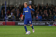 AFC Wimbledon midfielder Mitchell (Mitch) Pinnock (11) dribbling during the EFL Sky Bet League 1 match between AFC Wimbledon and Lincoln City at the Cherry Red Records Stadium, Kingston, England on 2 November 2019.