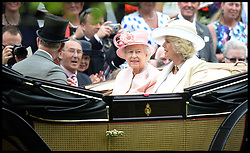HM The Queen, The Duchess of Cornwall and Prince Charles arrive at the Opening day of Royal Ascot 2013 Ascot, United Kingdom<br /> Tuesday, 18th June 2013,<br /> Picture by Andrew Parsons / i-Images