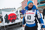 Musher Michi Konno at the Iditarod Ceremonial Start Race 2018.<br /> <br /> Photographer: Christina Sjögren<br /> Copyright 2018, All Rights Reserved