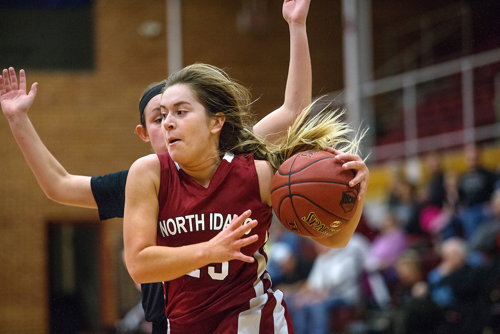 GABE GREEN/Press<br /> <br /> NIC freshman Kara Staggs takes the ball to the hoop before being fouled by a Sheridan college player Saturday.