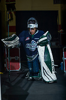 KELOWNA, CANADA - FEBRUARY 23: Dorrin Luding #35 of the Seattle Thunderbirds kneels in the tunnel against the Kelowna Rockets  on February 23, 2018 at Prospera Place in Kelowna, British Columbia, Canada.  (Photo by Marissa Baecker/Shoot the Breeze)  *** Local Caption ***
