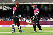 Tom Banton of Somerset and Azhar Ali of Somerset touch bats during the Royal London 1 Day Cup Final match between Somerset County Cricket Club and Hampshire County Cricket Club at Lord's Cricket Ground, St John's Wood, United Kingdom on 25 May 2019.
