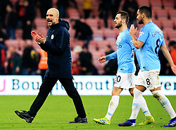Manchester City Boss Pep Guardiola celebrates at full time during the Premier League match at The Vitality Stadium, Bournemouth.